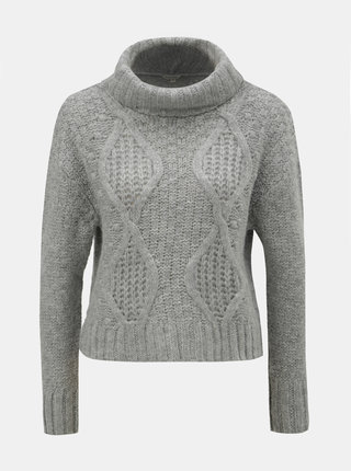 Sivý oversize krátky sveter s rolákom Miss Selfridge