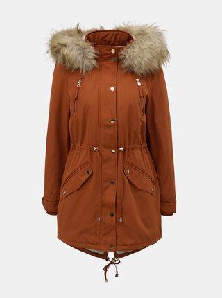 Cihlová zimní parka s umělým kožíškem Miss Selfridge