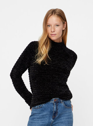 Čierny melírovaný sveter so stojačikom VERO MODA