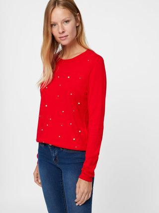 Červený lehký svetr s korálkovou aplikací VERO MODA