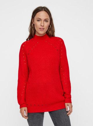 Červený voľný sveter s dierkovaným vzorom VERO MODA Jay