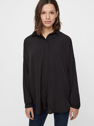 Černá volná košile s dlouhým rukávem VERO MODA AWARE Fabulous