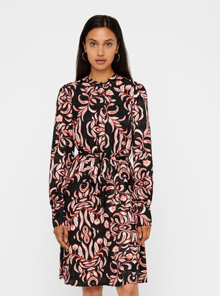 Černé květované šaty s odnímatelným páskem VERO MODA Gyana