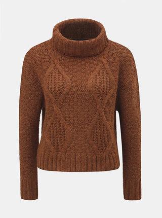 Hnědý krátký svetr s rolákem Miss Selfridge