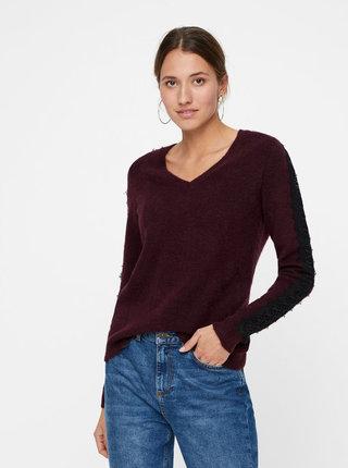 Vínový sveter s čipkou VERO MODA Miva