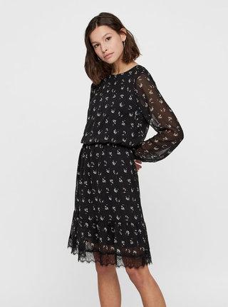 Černé květované šaty s krajkou VERO MODA Viola