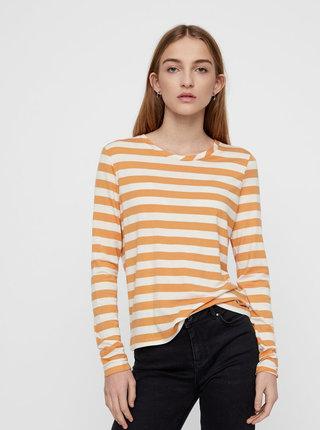 Tricou basic oranj-crem in dungi cu maneci lungi VERO MODA Sonia