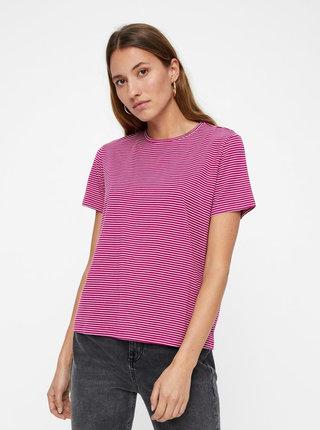 Bílo-růžové pruhované basic tričko s krátkým rukávem VERO MODA AWARE Mava