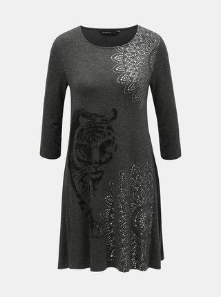Sivé šaty s potlačou a 3/4 rukávom Desigual Pikory