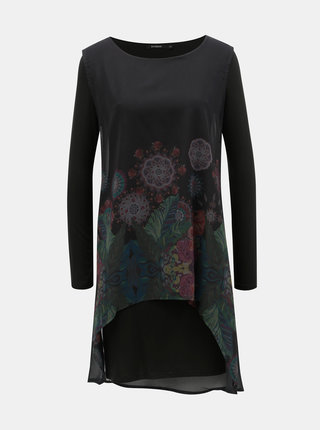 Čierne vzorované šaty s dlhým rukávom Desigual Gretel