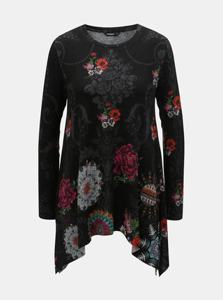 Čierna kvetovaná tunika s cípmi Desigual Cronosk