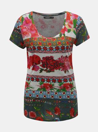 Šedo-červené květované tričko s krátkým rukávem Desigual Logan