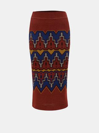 Modro–tehlová vzorovaná puzdrová sukňa Desigual Tacna