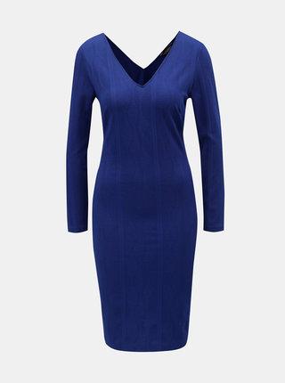Modré puzdrové šaty s véčkovým výstrihom Dorothy Perkins