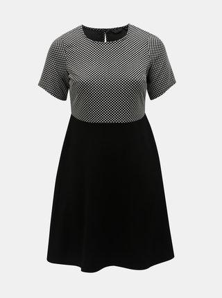 Černé šaty s puntíkovanou horní částí Dorothy Perkins Curve
