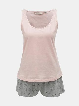 Sivo–ružové dvojdielne pyžamo s motívom zajačikov Dorothy Perkins