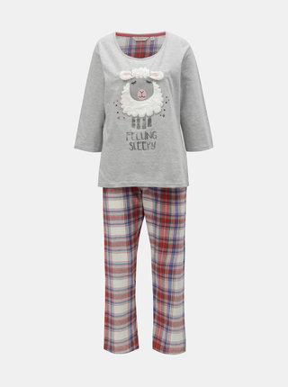 Červeno–sivé pyžamo s motívom ovečky Dorothy Perkins