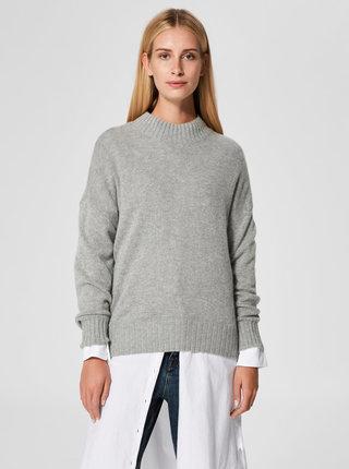 Sivý voľný sveter s prímesou vlny Selected Femme