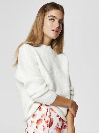 Krémový sveter s prímesou vlny Selected Femme Fregina