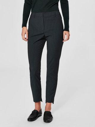 Čierne pruhované chino nohavice s prímesou vlny Selected Femme Famila