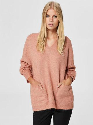 Růžový volný svetr s příměsí vlny Selected Femme Livana