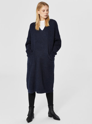 Rochie tricotata albastru inchis cu amestec de lana si mohair Selected Femme Flivana