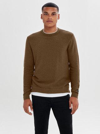 Pulover maro lejer cu partea tricou cusuta ONLY & SONS