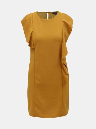 Horčicové šaty s volánmi Dorothy Perkins