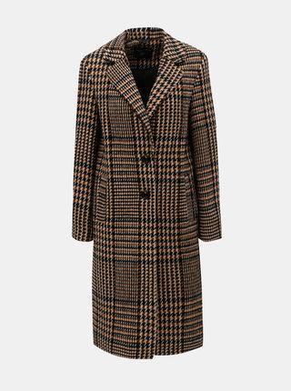 Hnedý kockovaný kabát s prímesou vlny Dorothy Perkins