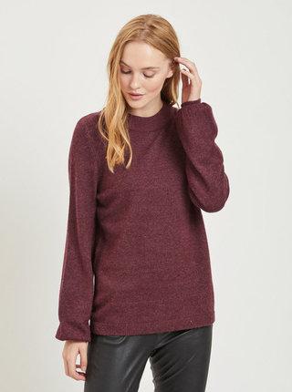 Vínový melírovaný sveter VILA Ril