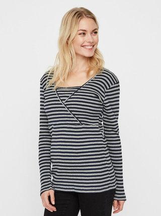 Modro–sivé pruhované tehotenské tričko na dojčenie s dlhým rukávom Mama.licious
