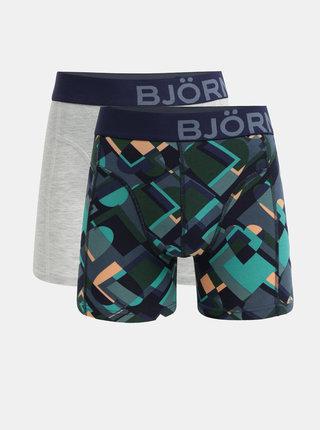 Set de 2 boxeri gri si albastru Björn Borg