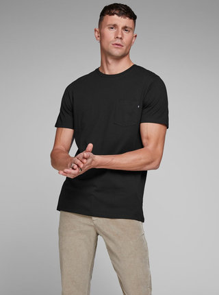 Tricou negru slim fit cu buzunar la piept Jack & Jones