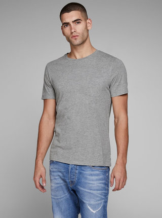 Sivé melírované basic tričko s náprsným vreckom Jack & Jones