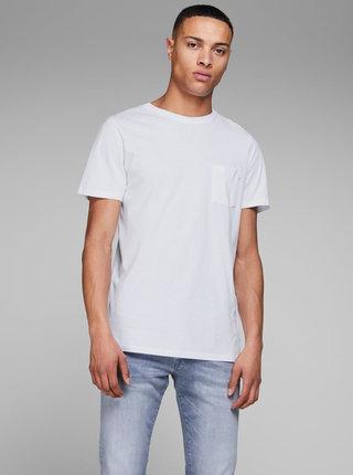 Bílé basic tričko s náprsní kapsou Jack & Jones