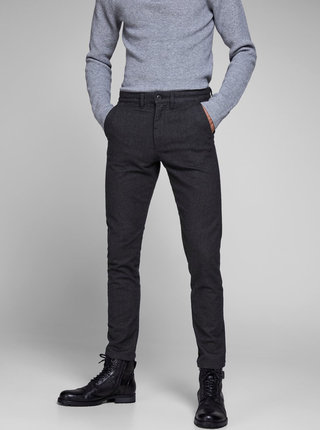 Pantaloni gri inchis chino slim fit Jack & Jones