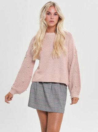 Ružový sveter s korálkovou aplikáciou na rukávoch ONLY Mella