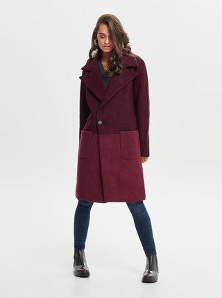 Vínový oversize kabát s vreckami ONLY Christa