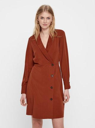 93a17042c Hnedé šaty s dlhým rukávom a prekladaným výstrihom VERO MODA Pearl