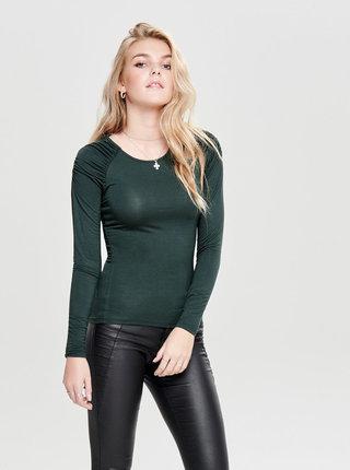 Tmavě zelené tričko s řasením na ramenou ONLY Runa