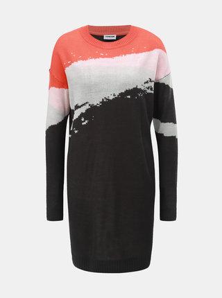 Oranžovo–sivé svetrové šaty s dlhým rukávom  Noisy May Stayla