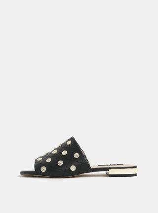 Papuci negri din piele cu aspect matlasat si detalii aurii - DKNY Roy