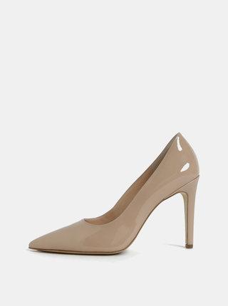 Pantofi bej din piele naturala cu toc cui Högl