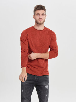 Červené melírované basic tričko ONLY & SONS Albert
