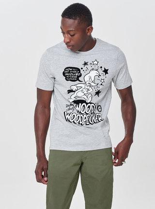 Svetlosivé melírované tričko s potlačou ONLY & SONS