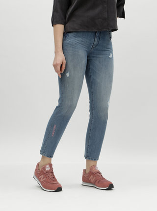 Modré regular skinny džíny s potrhaným efektem a výšivkou ONLY Ace