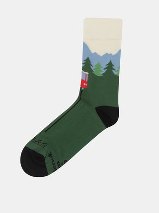 Zelené unisex ponožky s motívom Tatier Fusakle Hrebienok