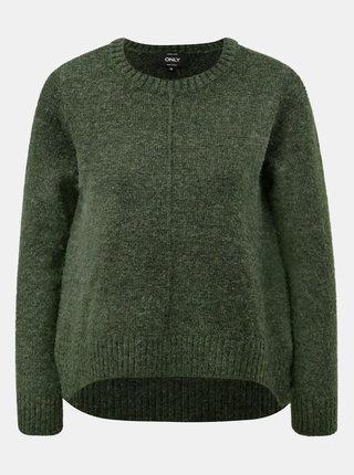 Zelený žíhaný svetr s prodlouženou zadní částí ONLY Loulou