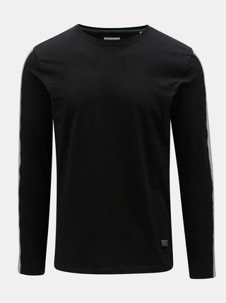 Tricou negru cu dunga pe maneci Shine Original Track
