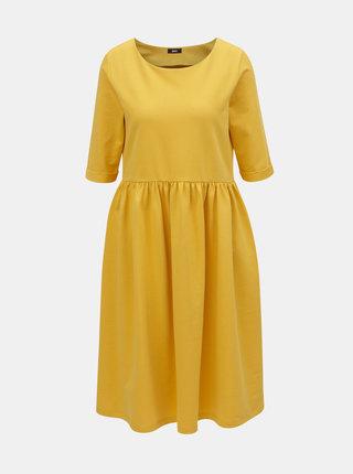 Žluté volné šaty s kapsami ZOOT